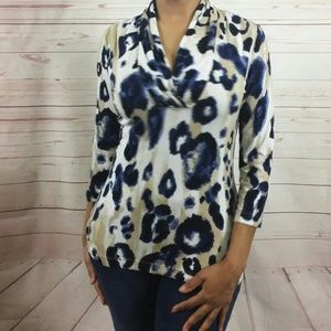 St. John Animal Print Stretchy 3/4 Sleeve Blouse